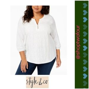 65aac5b36b573 Style   Co Plus Size Cotton Lace-Trimmed Top White